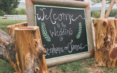Handmade wedding decorations at a Tennessee mountain wedding.